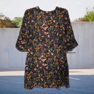 Floral Loose Fit Oversized Mini Dress Bell Sleeve